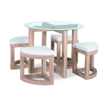 Product photograph showing Quarry Dining Set With Glass Top And 4 Chairs