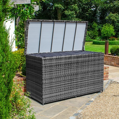 Product photograph showing Large Rattan Storage Box - Grey