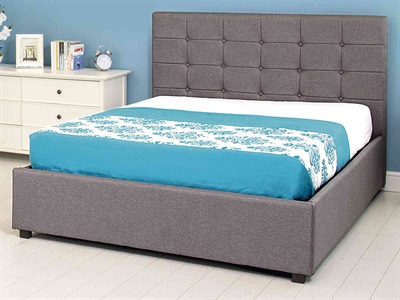 GFW Regal Ottoman 4 6 Double Grey Hopsack Fabric Ottoman Bed
