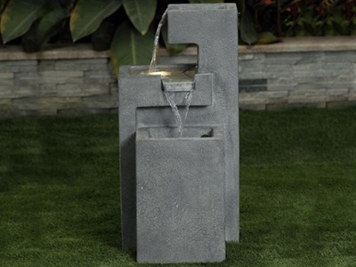 Product photograph showing Renfrew Water Feature With 1 Led - Light Grey