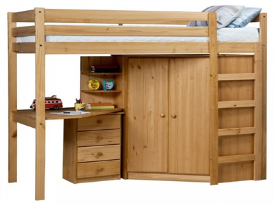 Verona Design Ltd Rimini High Bed with Corner Robe, Shelves & 4 Drawer Bedside 3 Single Antique High Sleeper