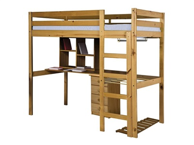 Verona Design Ltd Rimini High Bed - Student Package & 4 Drawer Bedside 3 Single Antique High Sleeper