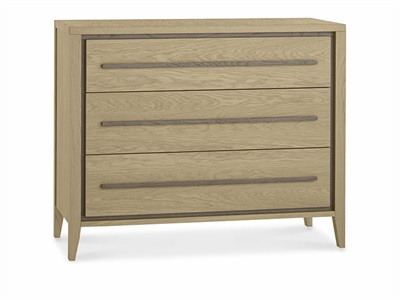 Bentley Designs Rimini Aged Oak & Weathered Oak 3 Drawer Chest Aged Oak and Weathered Oak Drawer Chest