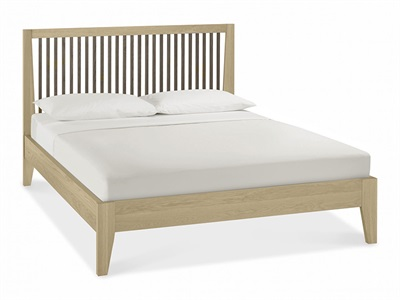 Bentley Designs Rimini Aged Oak & Weathered Oak 4 6 Double Aged Oak and Weathered Oak Slatted Bedstead Wooden Bed