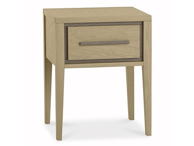 Bentley Designs Rimini Aged Oak & Weathered Oak 1 Drawer Nightstand Aged Oak and Weathered Oak Bedside Chest