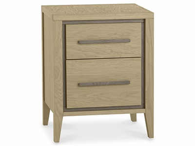 Bentley Designs Rimini Aged Oak & Weathered Oak 2 Drawer Nightstand Aged Oak and Weathered Oak 2 Drawer Bedside Chest