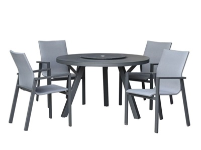 Product photograph showing Roma 4 Seat Dining Set - 1 2m Round Table