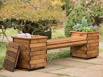 Product photograph showing Rspb 2 Seat Planter Bench
