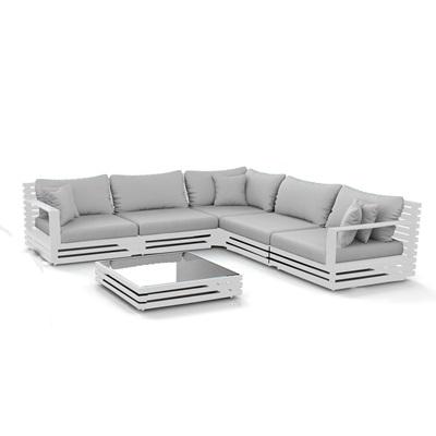 Product photograph showing San Marino Aluminium Corner Sofa Set