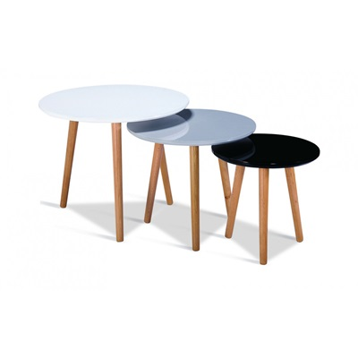 Product photograph showing Sandon High Gloss Nest Of Tables With Solid Beech Legs