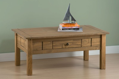 Product photograph showing Santiago 1 Drawer Coffee Table