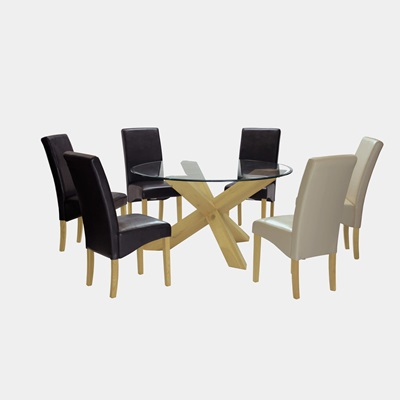 Product photograph showing Saturn Large Solid Oak Dining Table With Glass Top 140cm