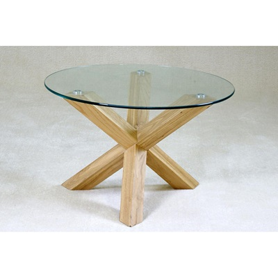 Product photograph showing Saturn Solid Oak Coffee Table With Glass Top