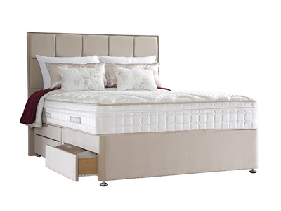 Sealy Jubilee Deluxe Divan Set 5 King Size Zip And Link Aubergine Platform Top - No Drawers Divan