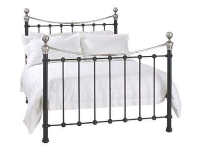 Original Bedstead Co Selkirk in Black and Nickel 3 Single Satin Black & Antique Nickel Slatted Bedstead Metal Bed