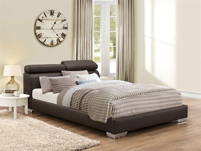 Birlea Signature Brown 4 6 Double Brown Leather Bed
