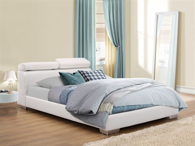 Birlea Signature White 4 6 Double White Leather Bed