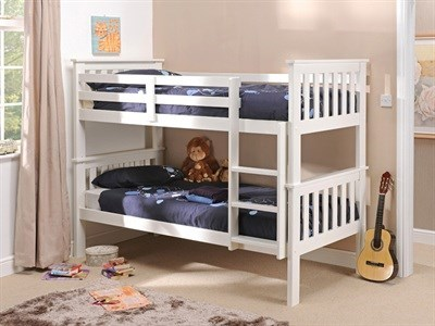 Snuggle Beds Madison (Bunk Bed) White 3 Single White Bunk Bed