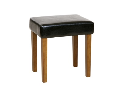 Product photograph showing Soft Furnishings Black Faux Leather Stool