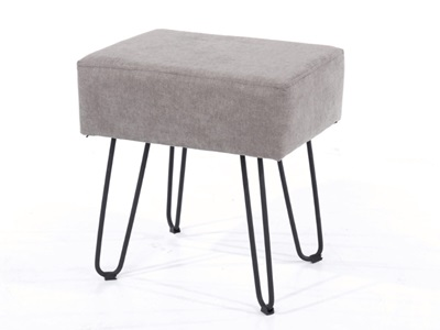 Product photograph showing Fabric Rectangular Stool Grey With Black Metal Legs