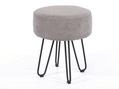 Product photograph showing Fabric Round Stool Grey With Black Metal Legs