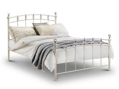 Julian Bowen Sophie 4 6 Double Stone White Metal Bed
