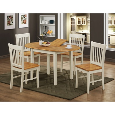 Product photograph showing Stacey Extending Dining Set With 4 Chairs Natural And White