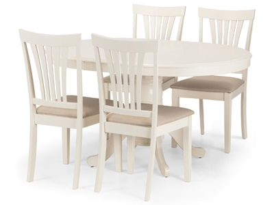Product photograph showing Stanmore Round To Oval Extending Dining Set With 4 Chairs