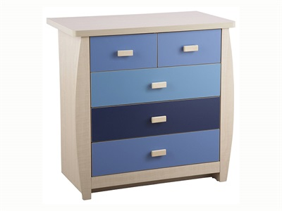 GFW Sydney Blue 5 Drawer Chest Drawer Chest