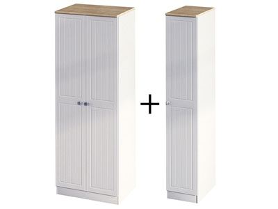 Furniture Express Vienna Tall Triple Plain Robe Bordeaux Oak with Kaschmir Ash 3 Door Wardrobe