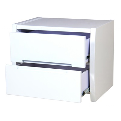 Product photograph showing Tanya High Gloss Bedside Chest In White