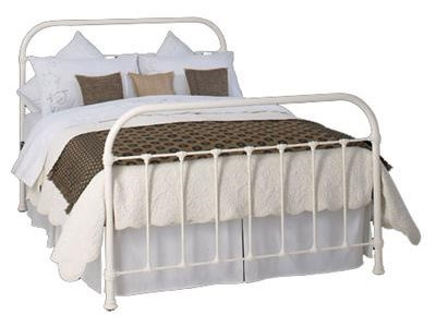 Original Bedstead Co Timolin 4 6 Double Glossy Ivory Slatted Bedstead Metal Bed