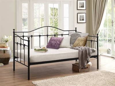 Birlea Torino Daybed 3 Single Black Slatted Bedstead Metal Bed