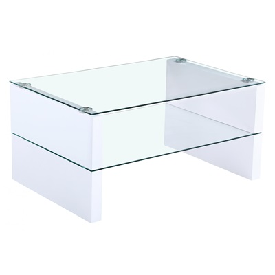Product photograph showing Truro Glass Coffee Table With White High Gloss Legs