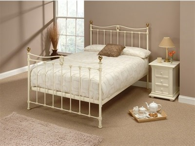 Original Bedstead Co Tulsk 3 Single Glossy Ivory & Antique Brass Headboard Only Metal Headboard
