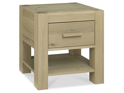 Bentley Designs Turin 1 Drawer Nightstand Aged Oak Bedside Chest