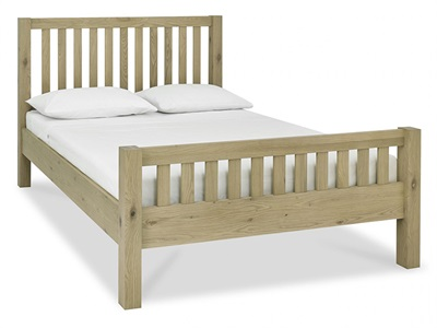 Bentley Designs Turin High Footend Bedstead 4 6 Double Aged Oak Wooden Bed