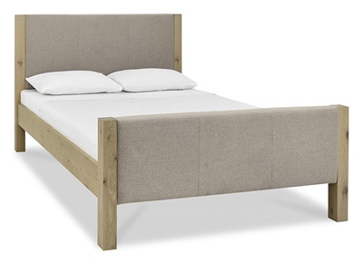Bentley Designs Turin Upholstered High Footend 4 6 Double Pebble Grey and Aged Oak Wooden Bed