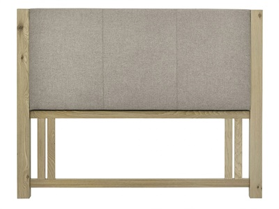 Bentley Designs Turin Upholstered Headboard 4 6 Double Pebble Grey and Aged Oak Wooden Headboard