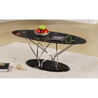 Product photograph showing Uplands Glass Coffee Table Chrome And Black