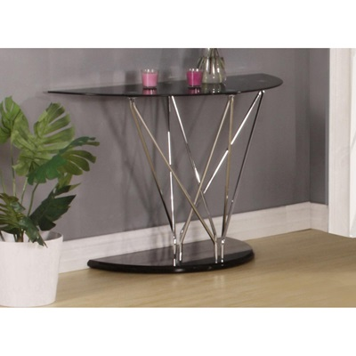 Product photograph showing Uplands Glass Console Table Chrome And Black