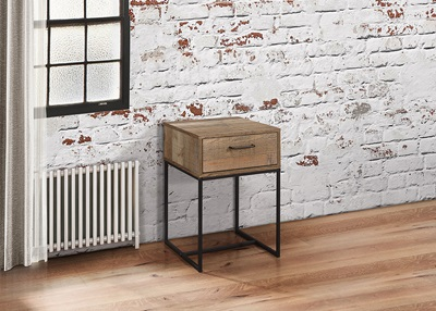 Product photograph showing Urban 1 Drawer Narrow Bedside Rustic
