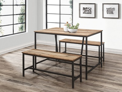 Product photograph showing Urban Dining Table Bench Set