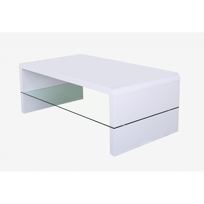 Product photograph showing Vala High Gloss Coffee Table With Glass Shelf White