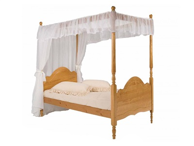 Verona Design Ltd Veneza Four Poster 3 Single Antique Four Poster Wooden Bed