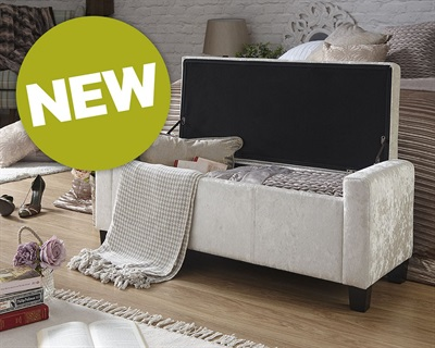 Product photograph showing Verona Ottoman Bench Blanket Box - Crushed Velvet