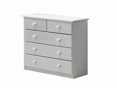 Verona Design Ltd Verona 3+2 Drawer Chest Whitewash Whitewash 5 Drawer Chest Drawer Chest
