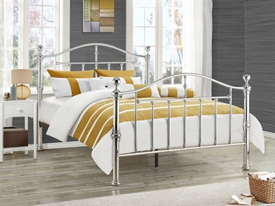 Birlea Victoria 4 6 Double Black Nickel Slatted Bedstead Metal Bed