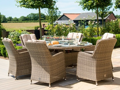 Product photograph showing Winchester 6 Seat Oval Fire Pit Dining Set With Venice Chairs