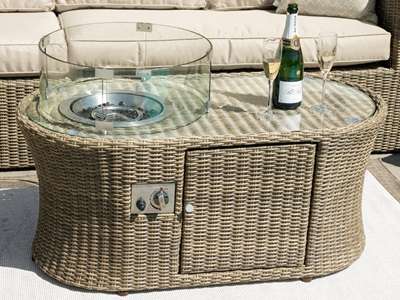 Product photograph showing Winchester Oval Fire Pit Coffee Table